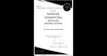 Prezes Fundacji nagrodzona przez JM Rektora WUM!